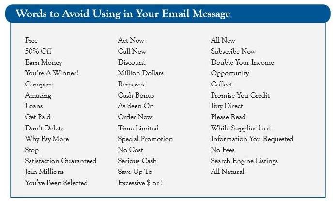 Words not to use in Email Subject Lines